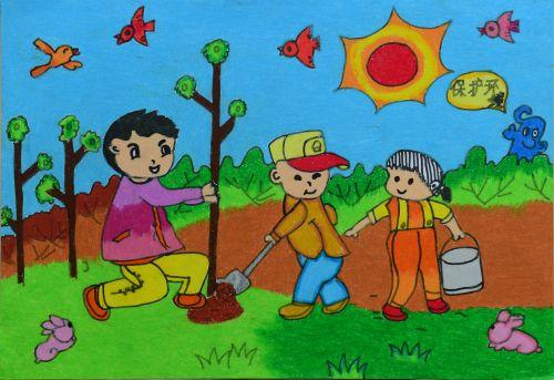小学校园动漫人物微笑风景画