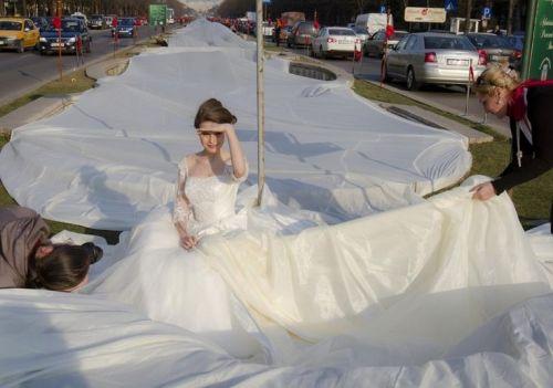 目前世界上最长婚纱纪录创造者-成都现4100米长婚纱 欲申请吉尼斯被