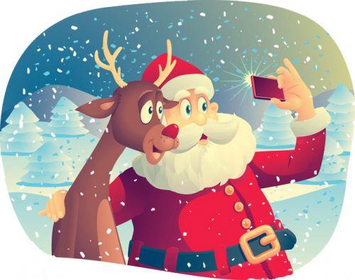 缀满礼物的圣诞树, 背着大口袋的白胡子圣诞老人