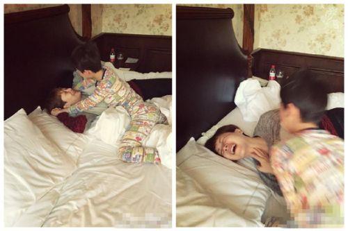 海清母子床上疯玩大笑 儿子霸气床咚妈妈_娱乐