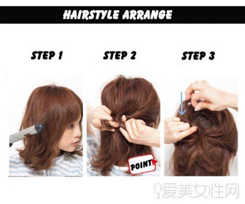 >> 正文    style 3扎发步骤 扎发图解 step 1:先用将头发用卷发棒向