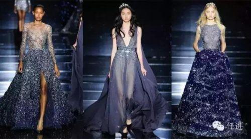 星空中,秀场也被布置出繁星闪烁的效果,优雅的裙摆在蓝色海洋里徜徉图片