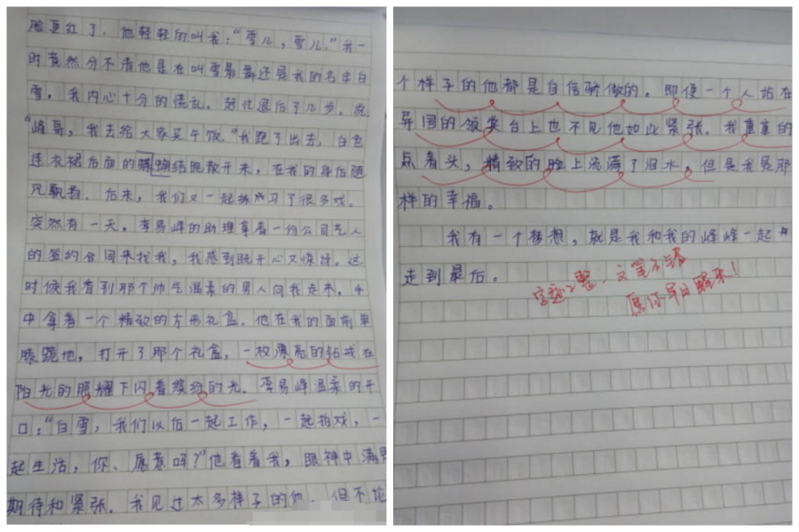 小学生写作文告白李易峰