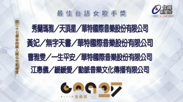 第27届金曲奖公布入围名单 李健等内地歌手入围